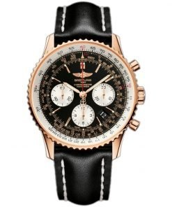 Navitimer 01 Chronograph Black Dial Black Leather Mens Watch BTRB012012-BA49BKLD