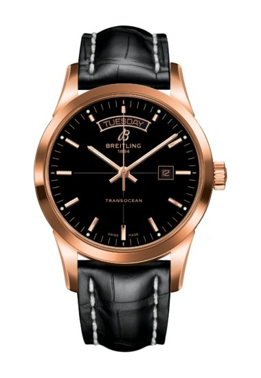 Breitling TRANSOCEAN DAY & DATE, 43mm, 18k Red Gold, Black Dial, R45310121B1P1