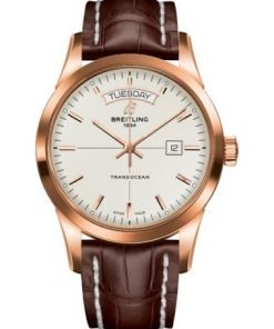 Breitling TRANSOCEAN DAY & DATE, 43mm, 18k Red Gold, Mercury Silver Dial, R45310121G1P1
