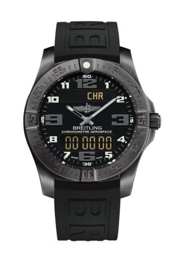 Breitling Men's AEROSPACE EVO, 43mm, DLC-Coated Titanium, Black Dial, V79363101B1S1
