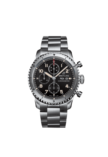 Breitling Aviator 8 Chronograph, Stainless Steel, Black dial, A13316101B1A1