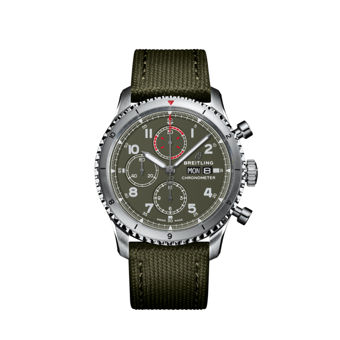Breitling Aviator 8 Chronograph 43 Curtiss Warhawk, Stainless Steel, Military green dial, A133161A1L1X1