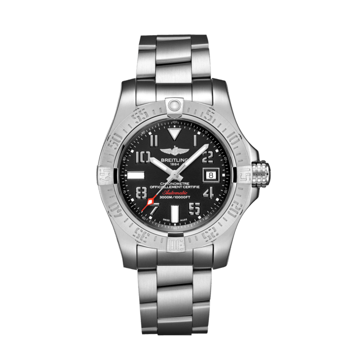 """Breitling Avenger II Seawolf, Stainless Steel, 45mm, """"Volcano Black"""" dial, A17331101B2A1"""