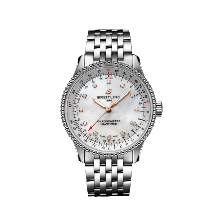 Breitling Navitimer Automatic 35, Stainless Steel, 35mm, White Mother-of-Pearl dial, A17395211A1A1