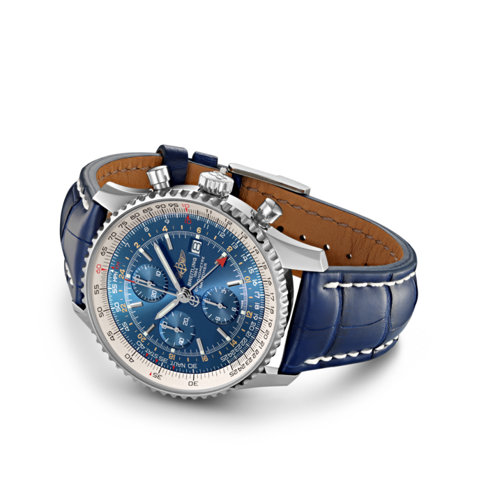 Breitling Navitimer Chronograph GMT 46, Stainless Steel, Blue dial, A24322121C1P1