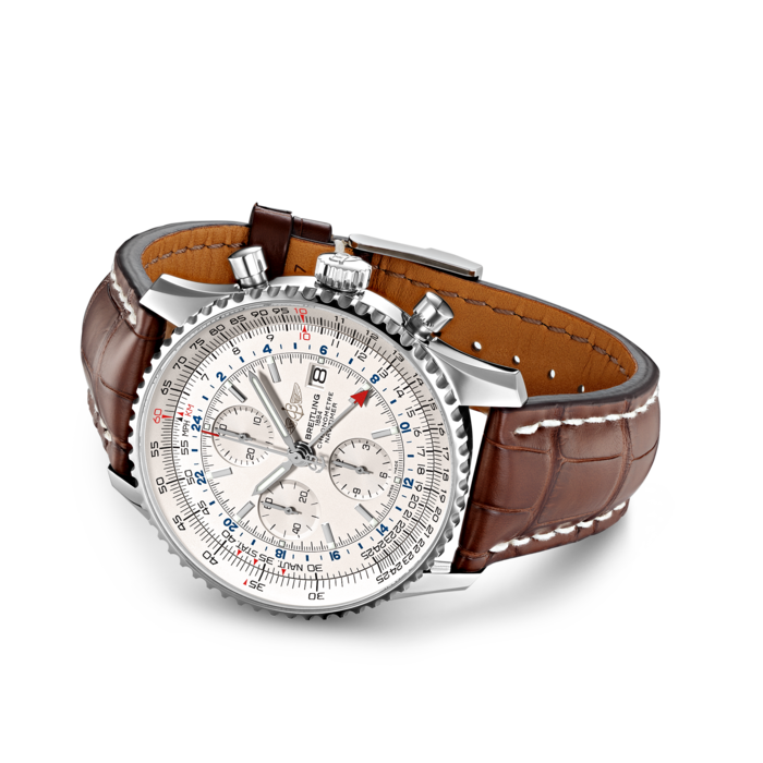 Breitling Navitimer Chronograph GMT 46, Stainless Steel, Silver dial, A24322121G1P1