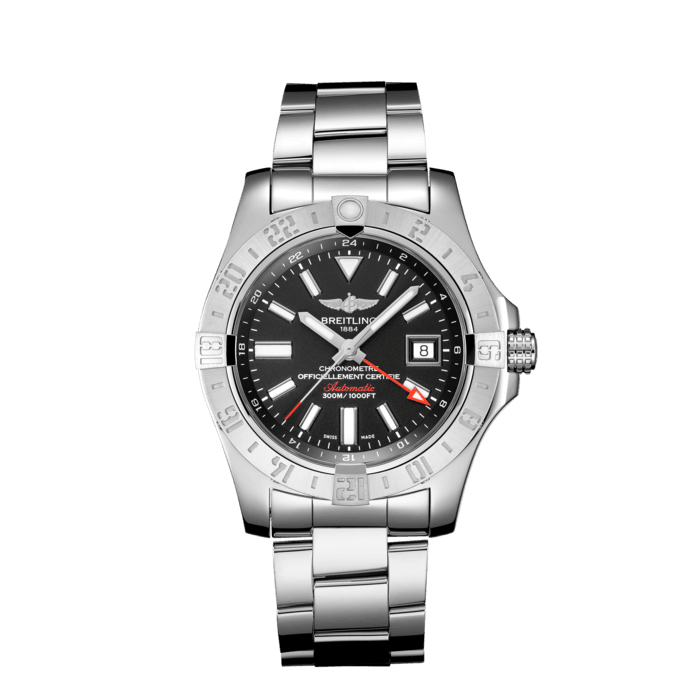 """Breitling Avenger II GMT, Stainless Steel, 43mm, """"Volcano Black"""" dial, A32390111B1A1"""