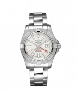 """Breitling Avenger II GMT, Stainless Steel, 43mm, """"Stratus Silver"""" dial, A32390111G1A1"""