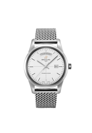 Breitling Transocean Day & Date, Stainless Steel, 43mm, Silver dial, A45310121G1A1