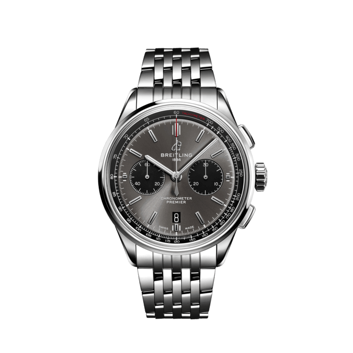 Breitling Premier B01 Chronograph 42, Stainless Steel, Anthracite grey dial, AB0118221B1A1