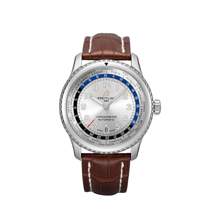 Breitling Aviator 8 B35 Automatic Unitime 43, Stainless Steel, Silver dial, AB3521U01G1P1