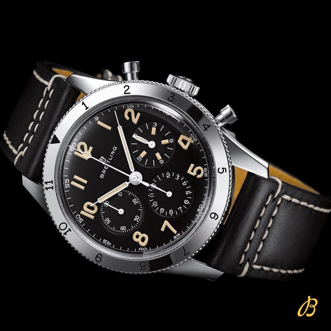 Breitling AVI REF. 765 1953 Re-Edition, Stainless Steel, Black dial, 41mm, AB0920131B1X1