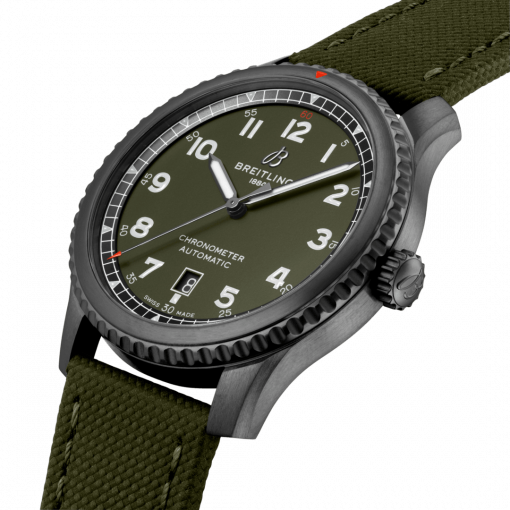 Breitling Aviator 8 Automatic 41 Black Steel Curtiss Warhawk, DLC-Coated Stainless Steel, Military green dial, M173152A1L1X1
