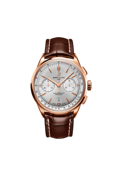 Breitling Premier B01 Chronograph 42, 18k Red Gold, Silver dial, RB0118371G1P2