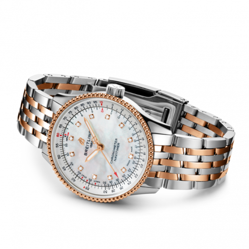 Breitling Navitimer Automatic 35, Stainless Steel and 18K Rose Gold, White Mother of Pearl dial, 35mm, U17395211A1U1