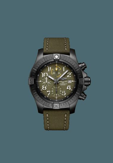 Breitling Avenger Chronograph 45 Night Mission, Black DLC coated titanium, 45mm, Green, V13317101L1X1