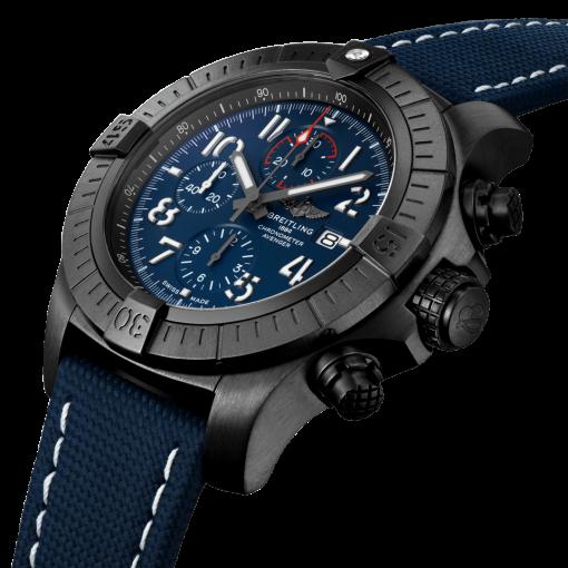 Breitling Super Avenger Chronograph 48 Night Mission, Black DLC coated titanium, 48mm, Blue, V13375101C1X2