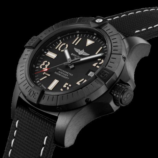 Breitling Avenger Automatic 45 Seawolf Night Mission, Black DLC coated titanium, 45mm, Black, V17319101B1X1