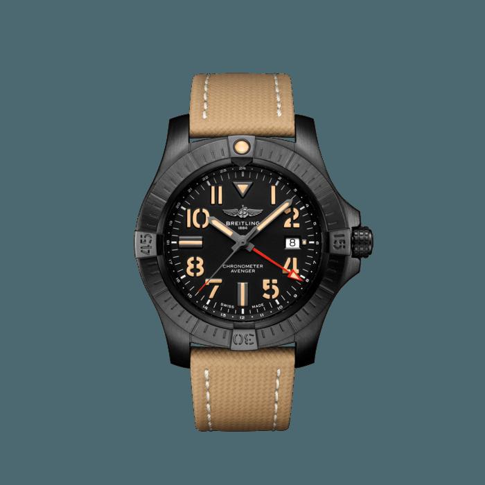 Breitling Avenger Automatic GMT 45 Night Mission, Black DLC coated titanium, 45mm, Black, V32395101B1X1