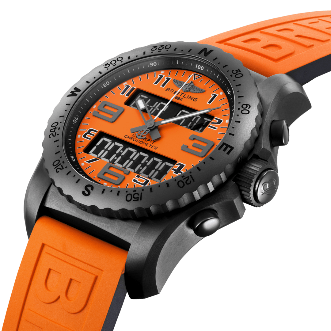 Breitling Men's Cockpit B50 Orbiter Limited Edition, 46mm, DLC-Coated Titanium, Orange Dial, VB50106A1O1S1