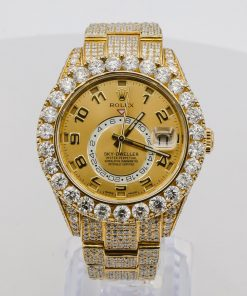 Rolex Sky-Dweller 326938 42mm Arabic Champagne Dial Iced Out Mens Watch