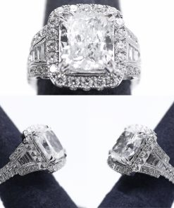 14k White Gold Engagement Ring With Diamonds