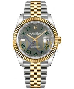 Rolex Datejust 126333 Steel And Yellow Gold Fluted Bezel Green Roman Dial Jubilee Watch